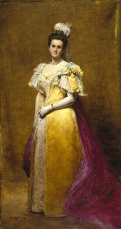 ohsoromanov:  Portrait of Emily Warren Roebling by Charles August Émile Durand This painting shows Emily Roebling in the court dress she wore for her formal presentation to Queen Victoria as well as to the coronation of Tsar Nicholas II in 1896.