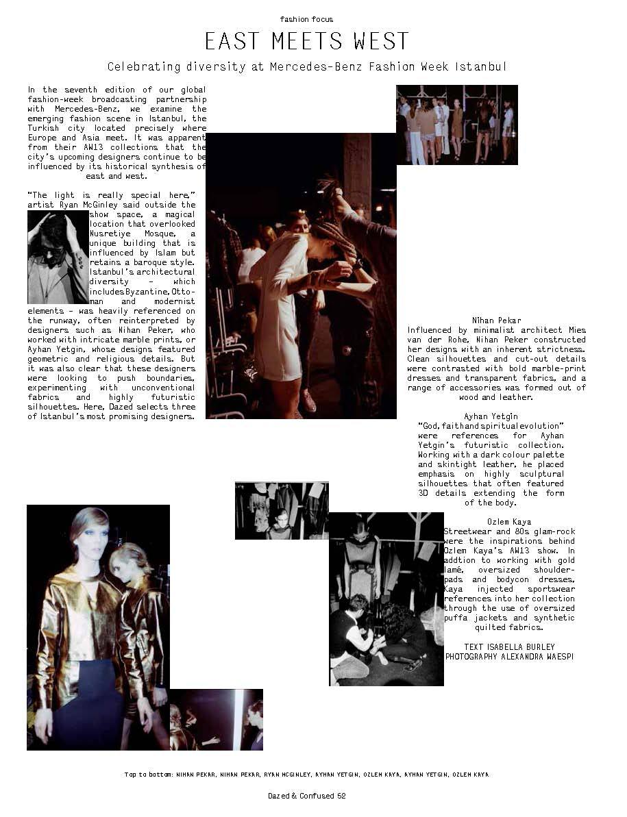 mercedes-benz fashion broadcasting: istanbul, dazed & confused magazine, june 2013