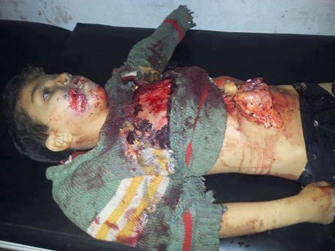 Hamza Aydeen, a little boy from Maarat Al Nouman, Idleb (Syria) is killed after Assad's forces shelled his home.  Thanks @SyrianSmurf
