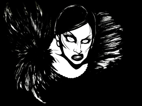 Here's the finished ink piece of Alyssa from RPDR S5 E4! This was really tricky to compose because I mostly wanted her face, but also to incorporate the textures of her costume, and it wound up looking a little awkward with white around it so I added a black background to frame her in after I scanned it. Idek. Stupid art is stupid. WIP shots here: 1 2