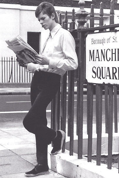 David Bowie in a more casual ensemble.