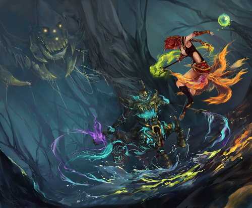 penta-kill:  LoL - Digi Art Contest - King of the Treeline by ~RiyokuSakimori