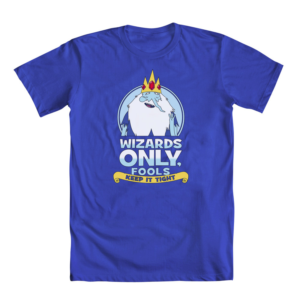 Go ahead. Put it on the grid. welovefineshirts:  Wizards only, fools! Keep it tight. ;) Sweeeeet new Adventure Time Ice King design by Matthew J. Parsons just added! (Click thru product page for women's tee!)