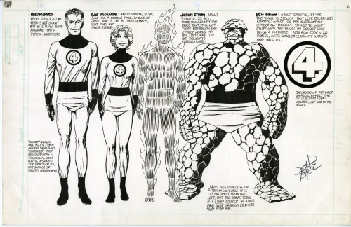 ryallsfiles:  Fantastic Four model sheet by John Byrne. Also, the endpapers for our coming John Byrne's Fantastic Four Artist's Edition, which I saw printed and bound for the first time today. Marvel Comics, I can't thank you enough for letting us do this one.