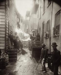 "indypendenthistory:  Bandit's Roost (1888), by Jacob Riis, from ""How the Other Half Lives."" Bandit's Roost, at 59½ Mulberry Street (Mulberry Bend), was the most crime-ridden, dangerous part of all New York City."