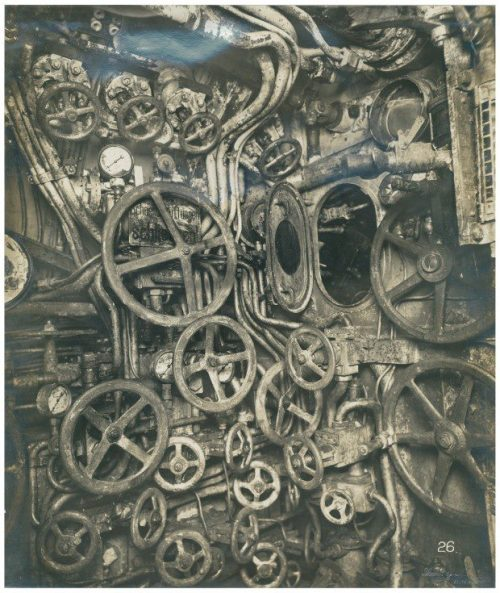 theremina:  Control room of UB-110 German submarine, circa 1918
