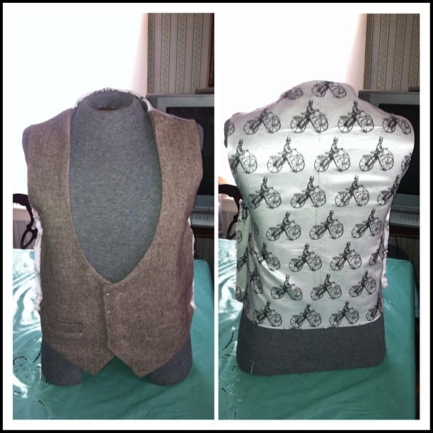 claudemichelle:  Almost complete now got to sew the side seam and then add buttonholes and buttons. #claudemichelle #collection #classic #waistcoat #bespoke #custom #tailor #designerlife #fashion #menstyle #menswear #mensfashion #dandy