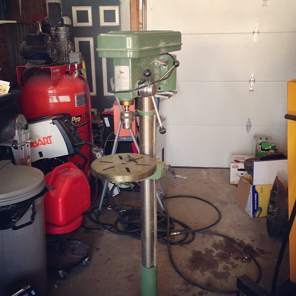 New addition to the workshop, my grandfather's old drill press. There's a date of 1982 on it, the year I was born.