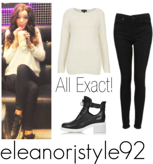 Eleanor at bubbleolgy with Max! by the-girlfriends-of-1d featuring topshop bootsTopshop knit top / Topshop skinny leg jeans / Topshop  boots