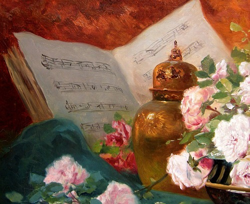 Eugène Henri Cauchois Still Life with Roses, Vase and Music Book, detail 19th century