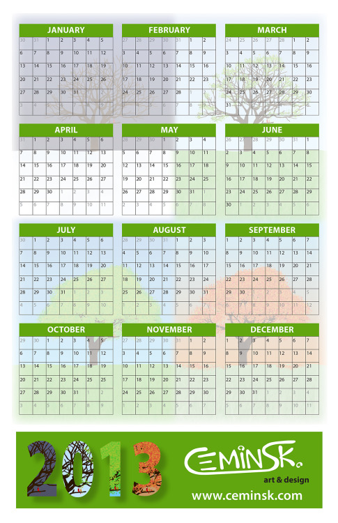 2013 Calendar Design, w/ my seasonal illustration, which I will hopefully be printing on magnets this week