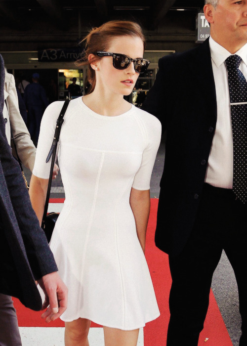 Emma Watson arriving at Nice Airport in France - May 14, 2013   that dress is flawless