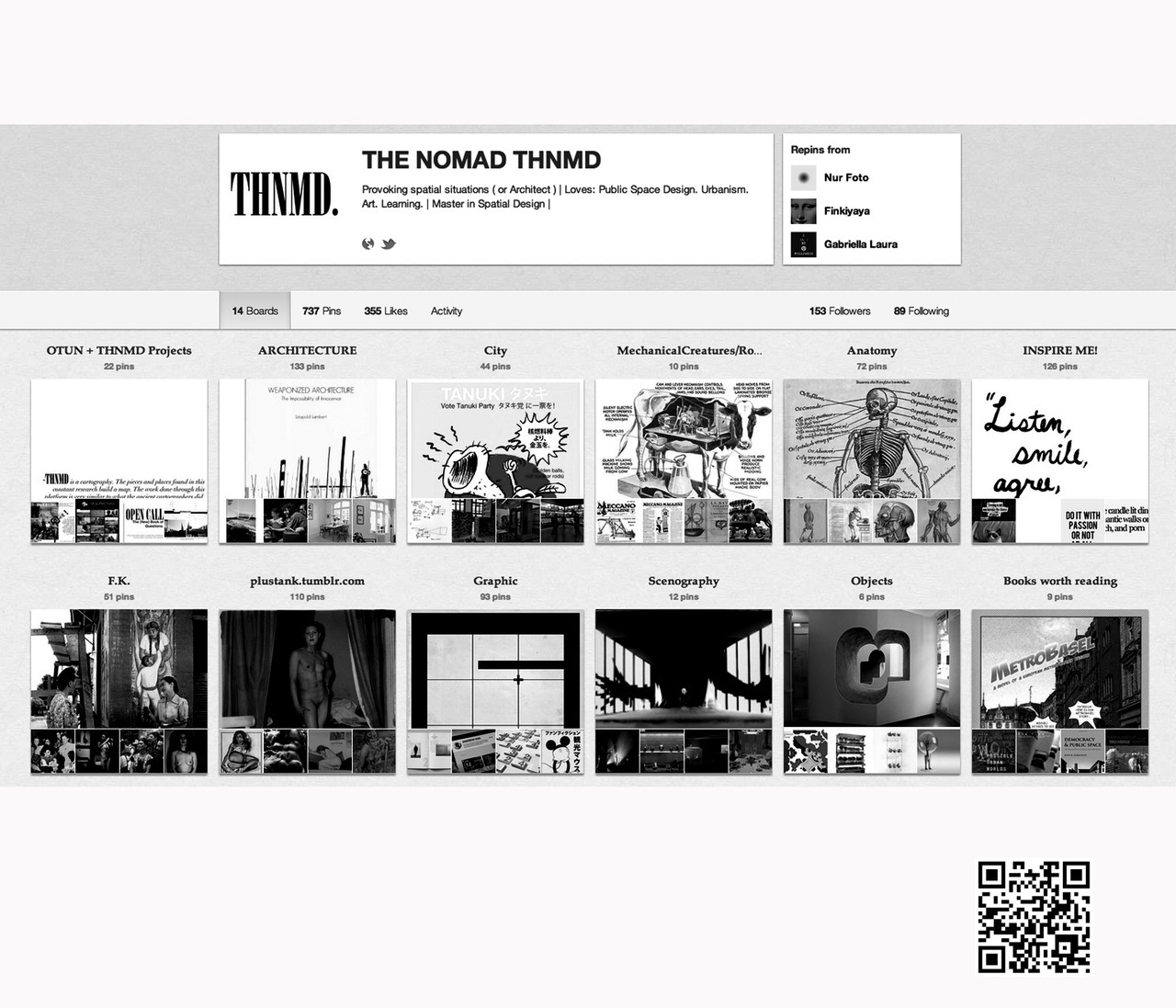 THNMD ´s Pinboards consist of visual content in the various disciplines of design.