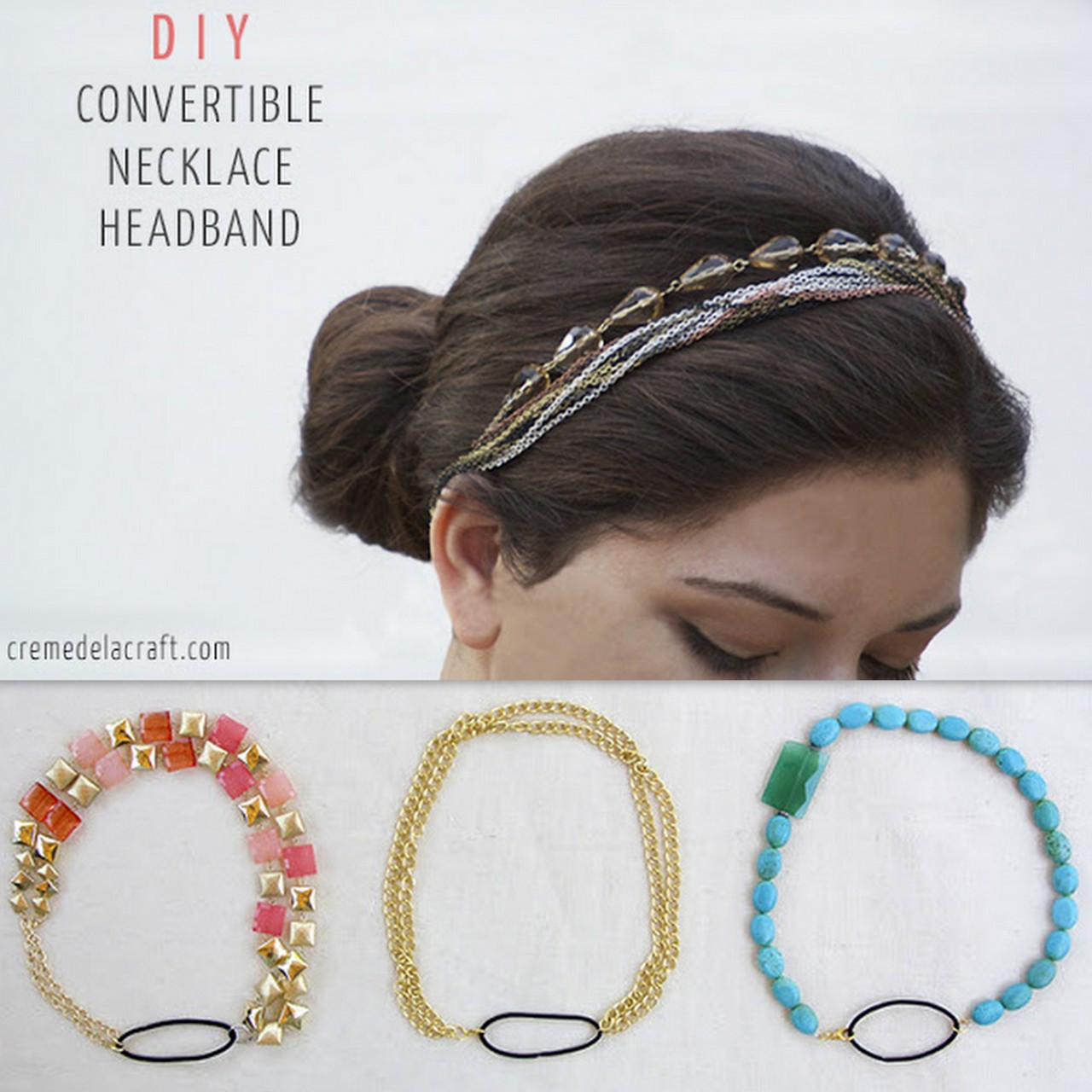 truebluemeandyou:  DIY 5 Minute Necklace to Headband Tutorial from Creme de la Craft here. Only pliers and a hair elastic needed. For more DIY Headbands go here: truebluemeandyou.tumblr.com/tagged/headband and for more head pieces go here: truebluemeandyou.tumblr.com/tagged/headband