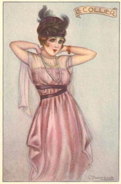 maudelynn:  Putting on Pearls  (the necklace) 1920s Fashion Postcard by Sergio Bompard
