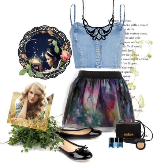 Taylor Swift in Galaxy Skirt by hsnhnf featuring crop topsMango crop top / Tory Burch patent leather ballet flat, $255 / Marc by Marc Jacobs real leather handbag, $370 / Zoemou black necklace, $57 / Bobbi Brown Cosmetics  / Distinctive Designs 2416 Plants and Greenery Topper with Silk…
