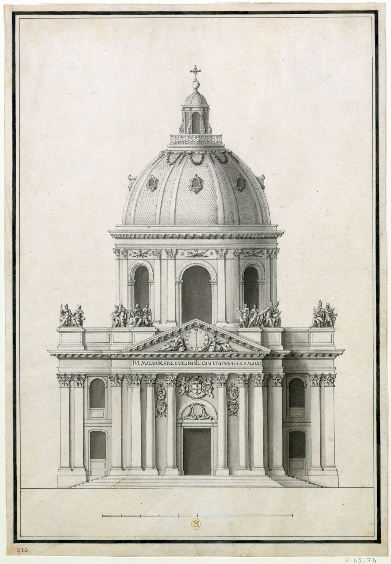 Elevation of the church of the Collège des Quatre Nations, Paris