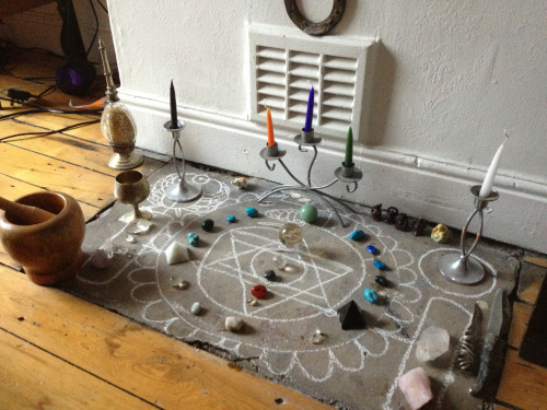 fiatlux93:  I love this idea! An alter that you can draw different sigils and symbols on according to your ritual… misspybis:  My yule altar for the resurrection of the sun on 25th December. I drew the medieval wolfworm to represent the cycle of the world and seasons. The scarab to the left carries the sun back into the sky. The suns resurrection signifies the reawakening of life forces and the patterns of life and death.   Great idea!
