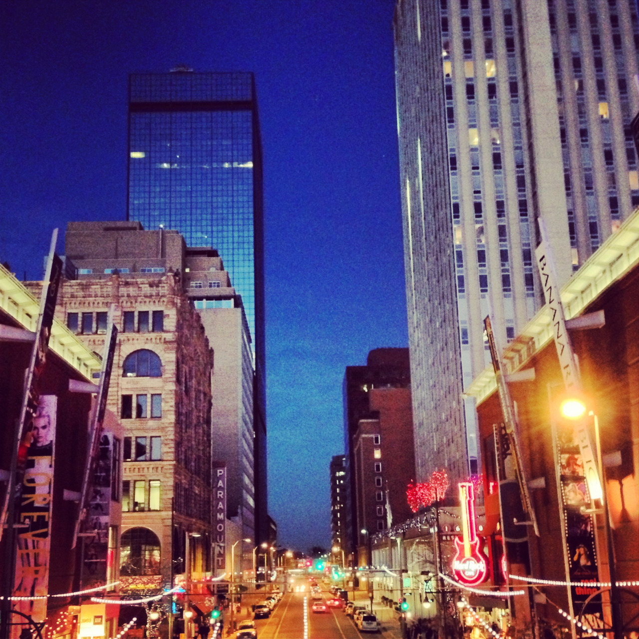 Downtown Denver at dusk. #denver #citystreets #cityscape