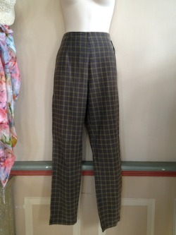 Plaid pants side zip