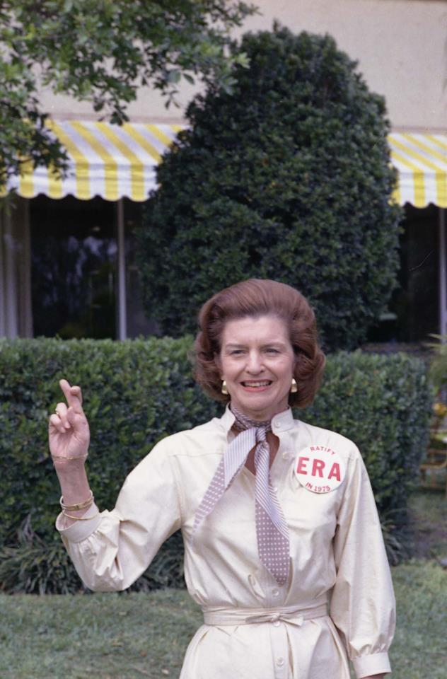 "Image description: From the Presidential Libraries:  Betty Ford will be honored in the 2013 National Women's Hall of Fame  From the announcement:  ""A groundbreaking First Lady, Betty Ford is often remembered for her candor in addressing the controversial issues of her time.  Shortly after she became the First Lady of the United States in 1974, Ford was diagnosed with breast cancer and underwent a radical mastectomy.  Rather than suppressing the diagnosis, Ford courageously shared her story and inspired countless women across the nation to get breast cancer examinations.  In 1978, following a family intervention, Ford underwent successful treatment for addiction to alcohol and prescription drugs.  She again used her story to raise public awareness of addiction, and in 1982, she co-founded the Betty Ford Center to treat victims of alcohol and chemical dependency.  Ford was awarded the Presidential Medal of Freedom in 1991 and the Congressional Gold Medal, with President Gerald R. Ford, in 1999.""  Go Betty! (1918 – 2011)   Photo: Photograph of First Lady Betty Ford Expressing Her Support for the Equal Rights Amendment in Hollywood, Florida, 02/25/1975 More — Betty Ford, a photo retrospective from the Ford Presidential Library"