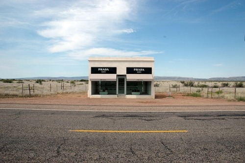 (via Forgotten / This is Prada Marfa, in Texas. It is a permanent sculpture, near the town of Marfa, a…)