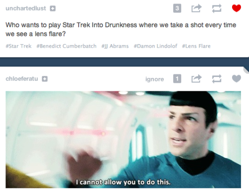 thedevilwearssneakers:  stuff-and-shenanigans:  spock doesn't want you to get drunk, ok  Suicide is never the answer.