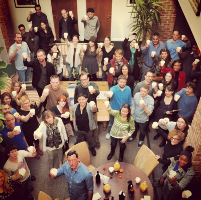 Huge day! The Tribeca team toasts the amazing film talent we're involved with who received Oscar nominations in 2013 including the big boss Robert De Niro, War Witch, and Asad. via tribecafilm:  What's this? Oh, just a little champagne to celebrate Tribeca Film's first Oscar nomination for War Witch.