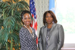Today, Assistant Secretary for International Organization Affairs, Esther Brimmer met with Executive Director of the World Food Program (WFP) Ertharin Cousin at the U.S. Department of State in Washington, DC. [May 10, 2013/State Department Photo]