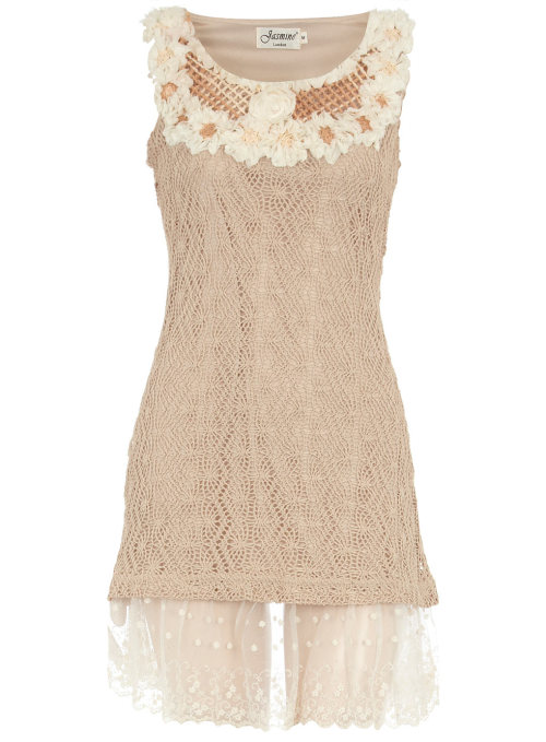Cream Crochet Dress by Dorothy Perkins