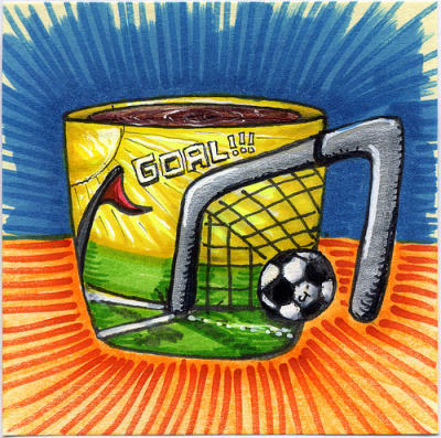 "I drew you a soccer ""GOAL!"" mug of coffee In celebration of my daughter's first ever goal in a soccer game, I drew you this soccer themed mug of coffee. Part of the goal post makes up the handle and the ball also sits as a 3D element on the side of the mug. I hope you like it! This is part of my ""The Daily Coffee"" marker drawing series."