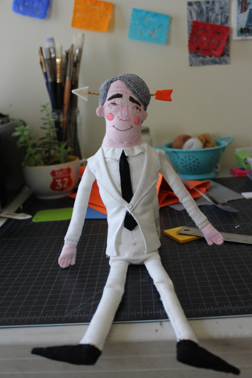 Steve Martin plush I made for illustration for publishing with Mark Todd and Esther Pearl Watson.  Still need to make his banjo.