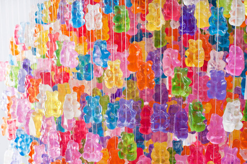 chandelier made from 3,000 gummy bears by kevin champeny via laughing squid