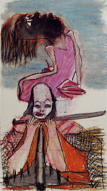 hoppe-art:  THE MULTI-NINJA-MINDED ARTIST 2013 Oil pastel and graphit on paper 31x56 cm MAJOR WILCO