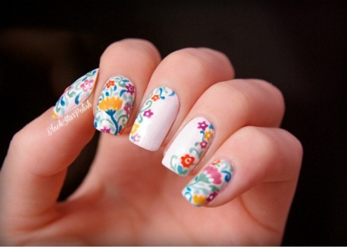 blackstarpolish:  Spring flower nails ✿