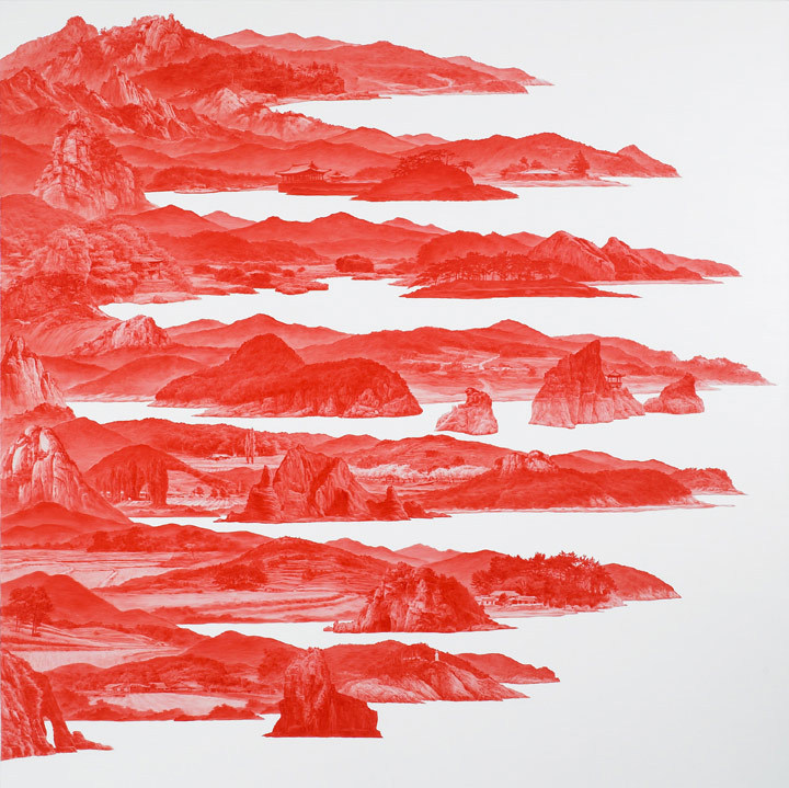 blue-voids:  Sea Hyun Lee - Between Red, oil on linen 2007-08