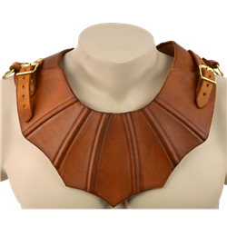 """gothic"" leather mantle/gorget. http://medievalarmour.com/p-11248-gothic-leather-gorget.aspx"