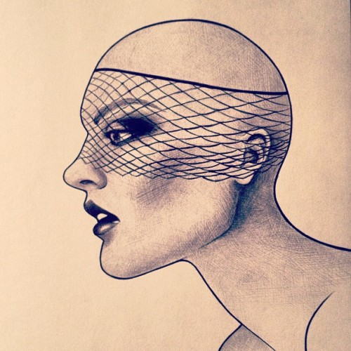 megsdailydrawings:  Veil #drawing #pen #ink #veil #portrait #art #bald #nawden