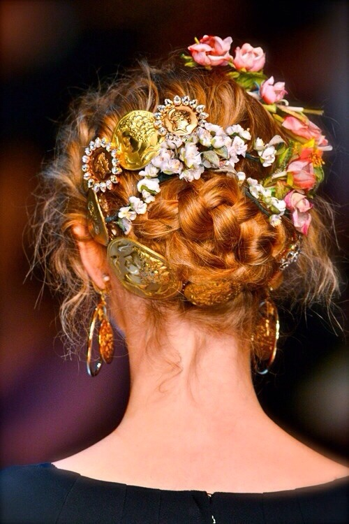 dolce & gabanna dolce and gabanna dolce and gabanna designer fashion ss14 Spring 2014 spring summer 2014 hair hair styles runway braid braided bun bun colors blonde brunette red orange purple pastel floral flowers 500 1k 2k