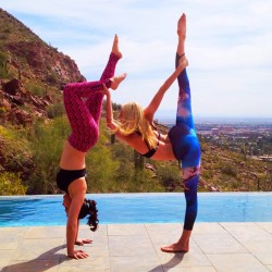 gypsetgoddess:  I've never assisted a handstand while balancing in a standing bow pose before…but there's a first for everything! Another fun first from today: My first time teaching a private lesson to a friend I met on Instagram! I was so excited when @xxomgitssamxx told me that she would be visiting Arizona and wanted to book a private session with me. What a fun way to meet a new friend! I love the way that Instagram and yoga have made my community feel so much larger and my world feel so much smaller. 🌎 (at Camelback Mountain)