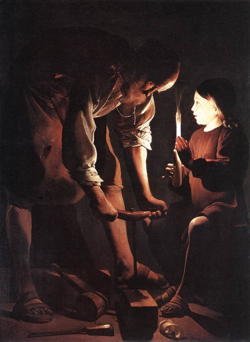 Georges de LA TOUR [French Baroque Era Painter, 1593-1652] Christ in the Carpenter's Shop1645Oil on canvas, 137 x 101 cmMusée du Louvre, Paris