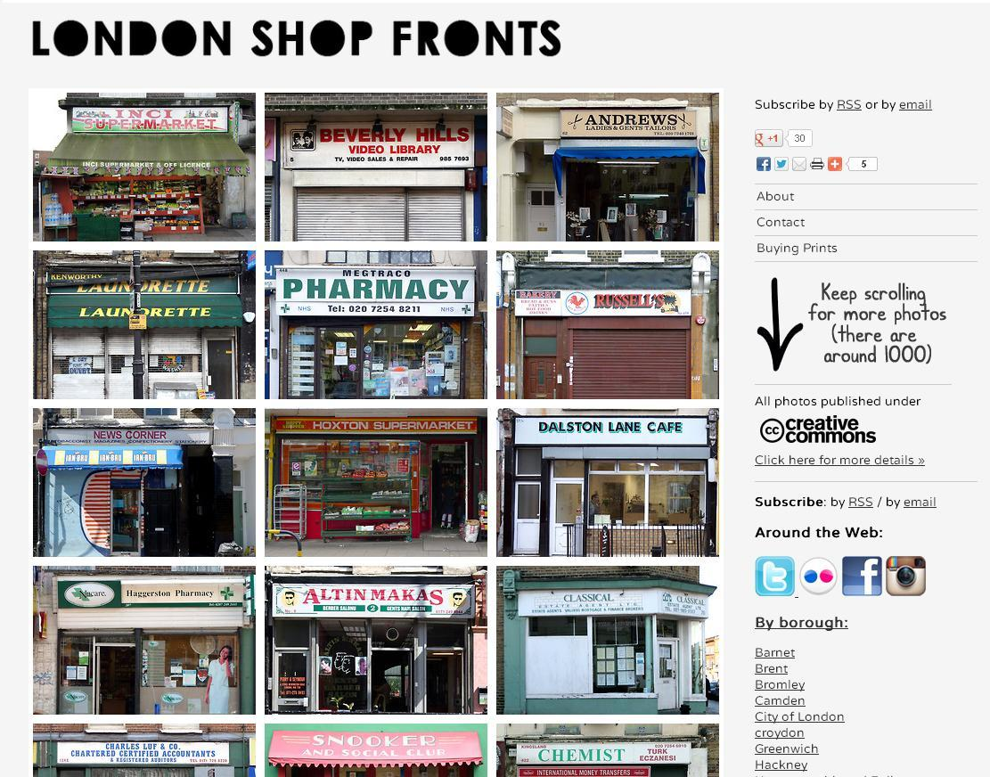 LONDON SHOP FRONTS Nothing like stumbling onto a cool new Tumblr page - this one, London Shop Fronts is hosted by photographer Emily Webber. Her project documents the disappearing store fronts in London - those that represent the classic London style - its unique signage, typography, and design. Her site is so user friendly; broken down by London neighbor hood and type of shop.  Check out her interview on Tumblr's Storyboard, here.
