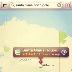 Santa Claus better not use iOS Apple Maps to get home this holiday season. Fairbanks, Alaska?? #applemaps. I want my google maps back. Wahh!!