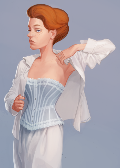 viivus:  I, too, have drawn Rosalind in a corset (and then gave up on painting the hands and most of the shirt).