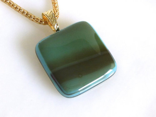 Fused Glass Pendant in Streaky Turquoise and Green by bprdesigns