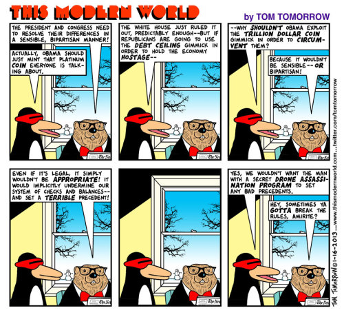 Drones Made of Platinum, from Tom Tomorrow