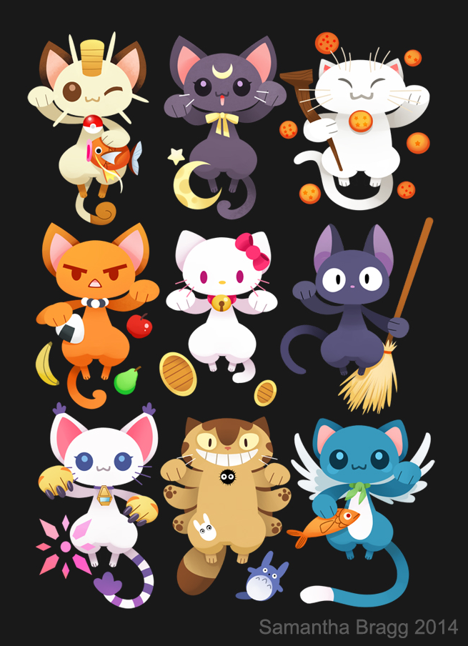 sam-bragg:  Maneki-Nekos All of my favorite anime cats in one place. Hopefully they will be lucky for me. This design is available on teepublic. https://www.teepublic.com/show/32564-maneki-nekos