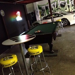 fatlace:  Paddock coming together nicely. Just need a pool table light. @mooneyesjp (at The Paddock by Fatlace)