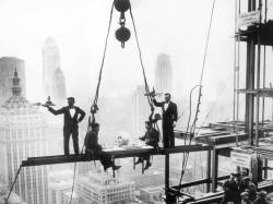 annajungdesign:  Lunch Above Manhattan, New York (c. 1930s) Picture by Charles C. Ebbets