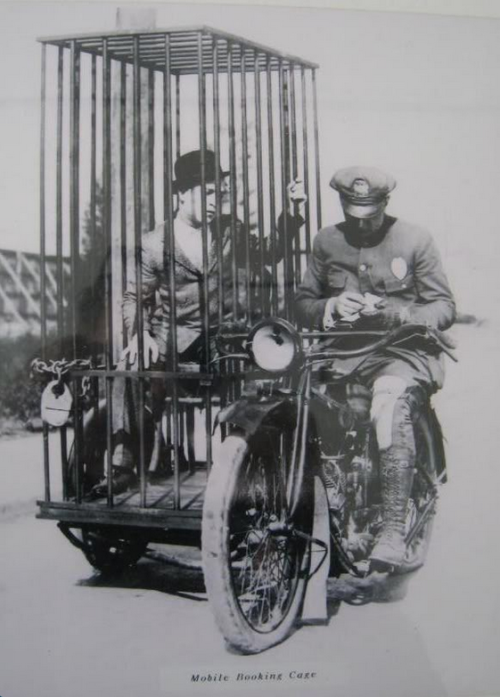 1920s Harley Davidson Mobile Booking Cage. (via kateoplis)